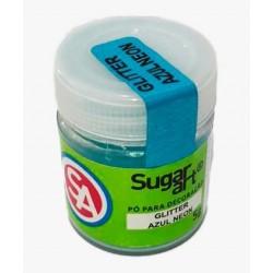 Glitter Sugar Art Azul Neon Para Decoração