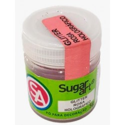 Glitter Sugar Art Rosa Holográfico Para Decoração