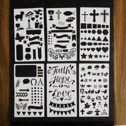 Stencil Kit Com 6 Faixas Setas Numeros Balão Molduras