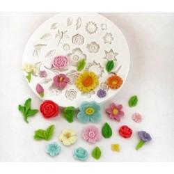Molde De Silicone Rosas Flores e Folhas Bosque Jardim
