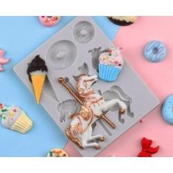 Molde De Silicone Carrossel Cupcake Sorvete Donut