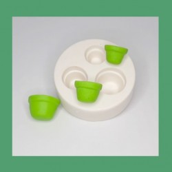 Molde De Silicone Vasos Vasinho Com 3