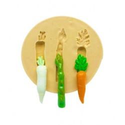 Molde de Silicone Legumes - Nabo, Aspargo, Cenoura - Pequeno