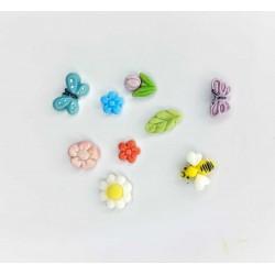 Molde de Silicone Flores Folhas Borboleta Abelha Mini