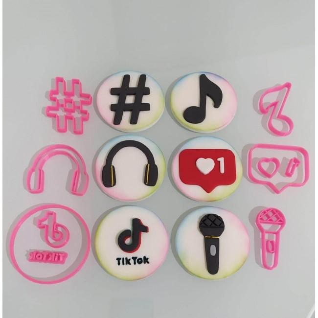 Cortador kit Tik Tok Hashtag Fone Microfone Logo