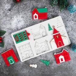 Molde de Silicone Casas Predios Igrejas Para Decorar Natal