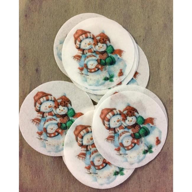 Papel de Arroz Natal Bonecos de Neve