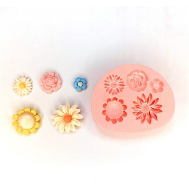 Molde de Silicone Flores Diversas 5 Modelos