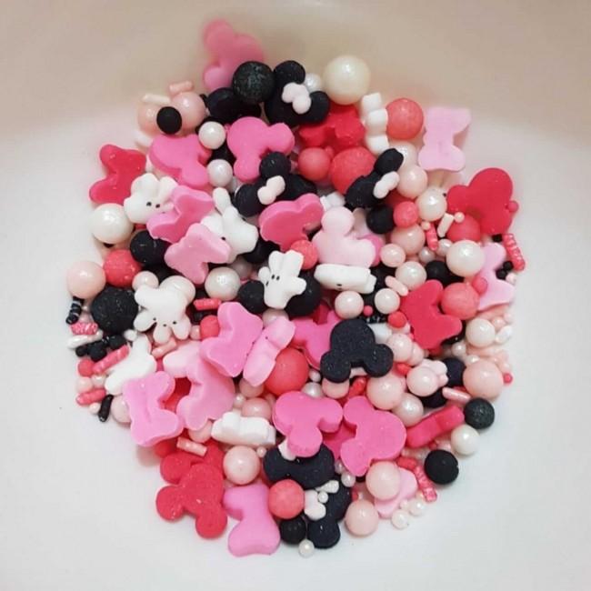 Confetes Para decoração Mix Minnie Rosa
