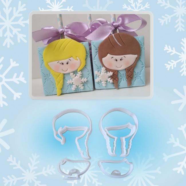 Cortador Ana e Elsa Frozen Linha Thais Costa