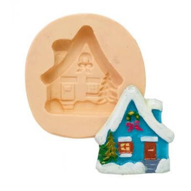 Molde de Silicone Casa de Natal Com Neve