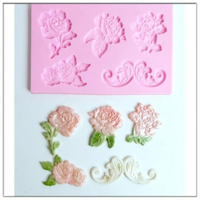 Molde de Silicone Flores Rosas Arabesco