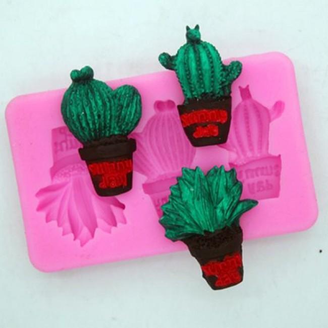 Molde De Silicone Cactus Suculentas No Vaso Para Decorar Plantas