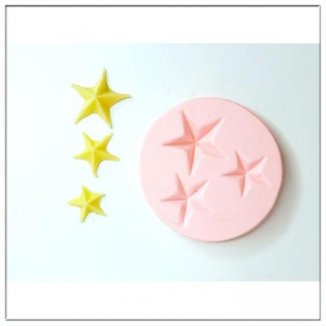 Molde de Silicone 3 Estrelas Para Decorar Natal