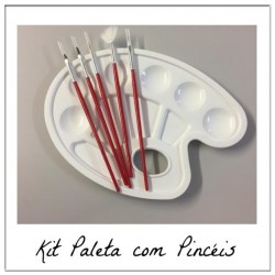 Kit de Pincel e Paleta de Pintura Para Decorar
