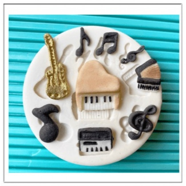 Molde de Silicone Notas Musicais Instrumentos