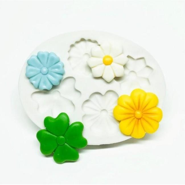 Molde de Silicone Mini Flores 4 Modelos