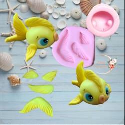 Molde de Silicone Peixe Amarelo Decorar Fundo do Mar