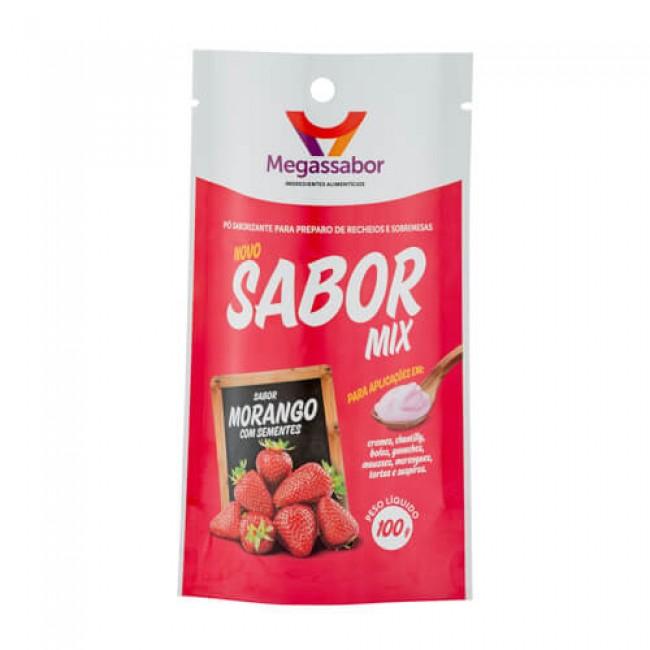 Pó Saborizante Sabor Mix Morango com Sementes 100g MegasSabor
