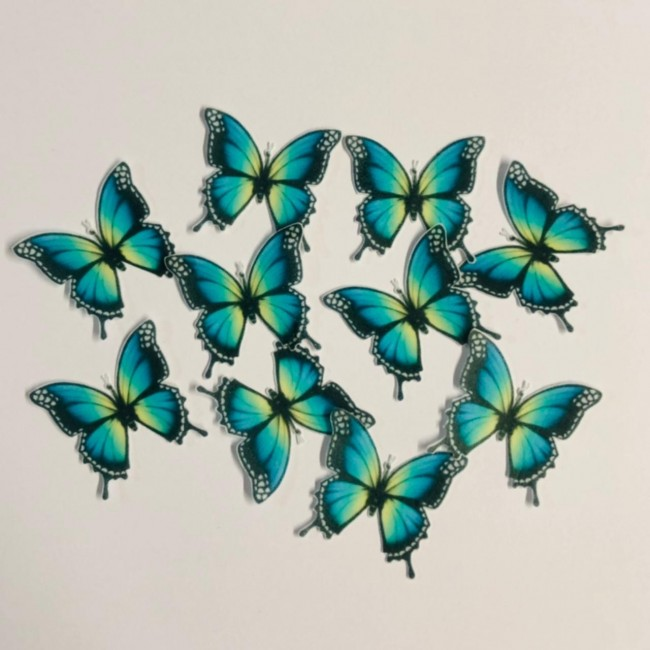 10 Borboletas Papel de Arroz Para Decorar Azul