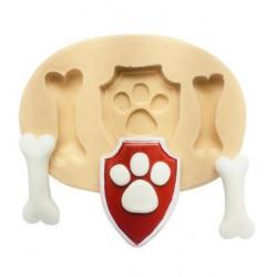 Molde de Silicone Patrulha Canina Escudo e Osso