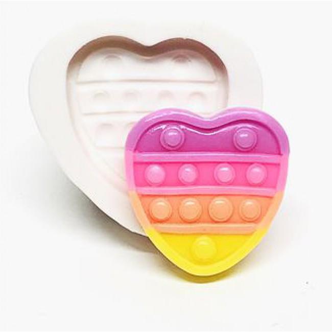 Molde de Silicone Fidget Toy Pop It Coração