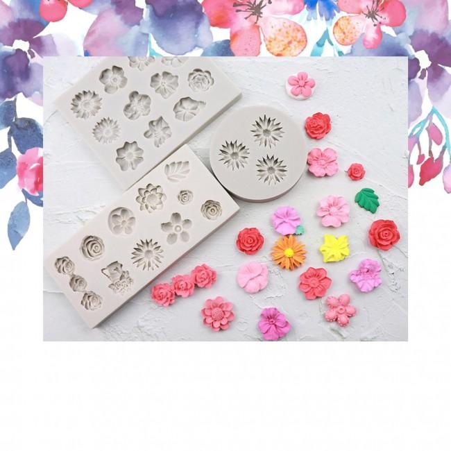 Kit 3 Moldes de Silicone Flores Diversas