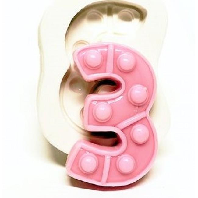 Molde de Silicone Fidget Toys Pop It Numero 3 Três