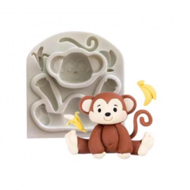 Molde de Silicone Macaco Decorar Safari