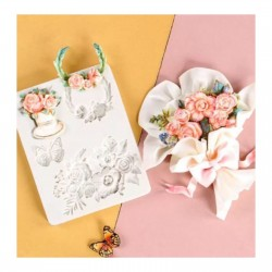 Molde de Silicone Flores Rosas Ramos