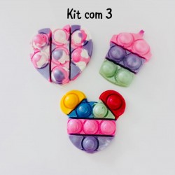 Molde de Silicone Fidget Toys Pop It Kit Com 3