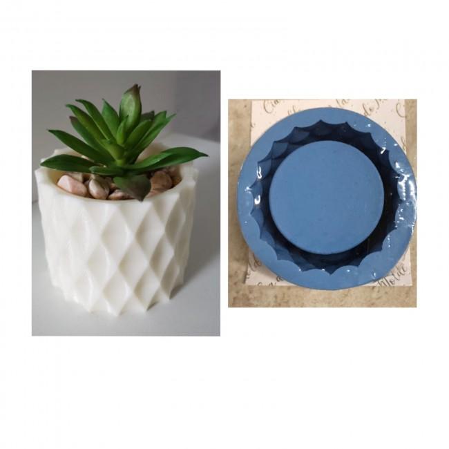 Molde de Silicone Vaso Formato Losângulo