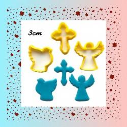 Kit Cortadores Batizado, Cruz, Anjo, Pomba, Comunhão, Espírito Santo