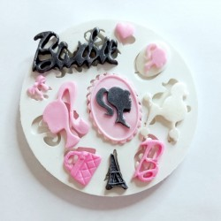 Molde de Silicone Barbie Logo e Itens Para Decorar