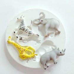 Molde de Silicone Animais Do Safari 4 Modelos