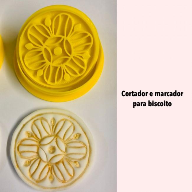 Kit Cortador e Marcador Para Biscoito Arabescos Mod 2