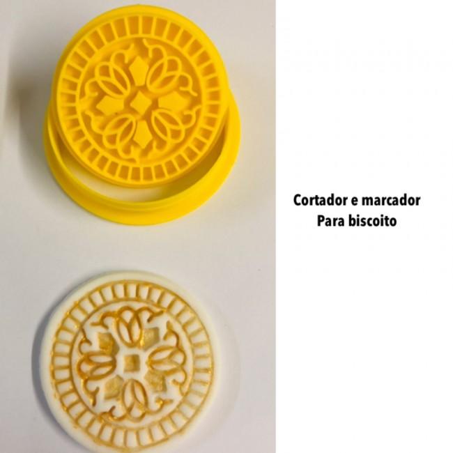 Kit Cortador e Marcador Para Biscoito Arabescos Mod 3