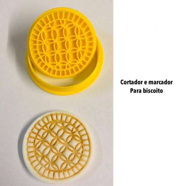 Kit Cortador e Marcador Para Biscoito Arabescos Mod 5