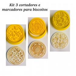 Kit Com 3 Cortador e Marcador Para Biscoito Arabescos Mod 1