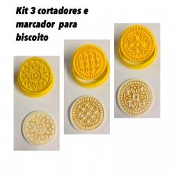 Kit Com 3 Cortador e Marcador Para Biscoito Arabescos Mod 2