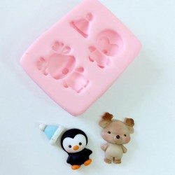 Molde de Silicone Rena e Pinguim Baby Decorar Natal