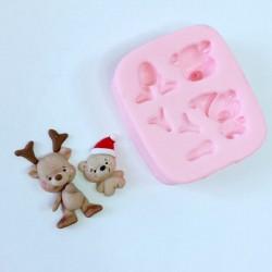 Molde de Silicone Rena e Urso Decorar Natal