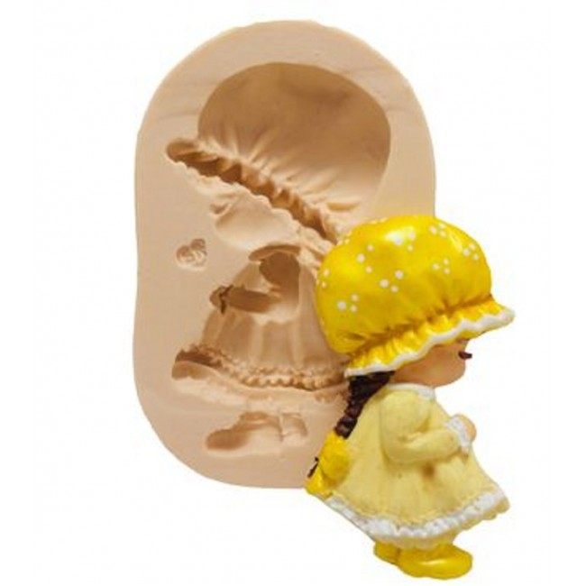 Molde de Silicone Bonequinha, Menina de Amarelo