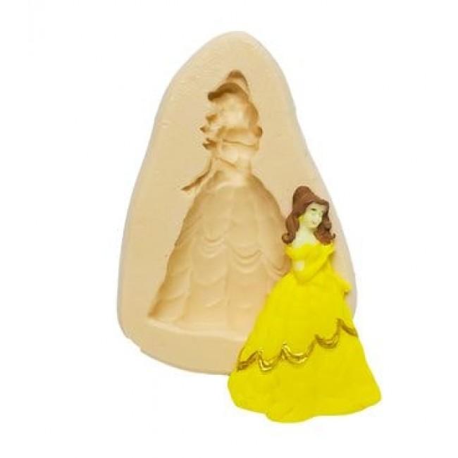 Molde de Silicone Bela Princesas Disney, A Bela e a Fera