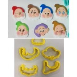 Kit Cortadores 7 Anões para Decorar Branca de Neve, Disney