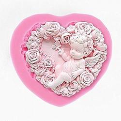 Molde de Silicone Cupido, Coração de Rosas, Anjo