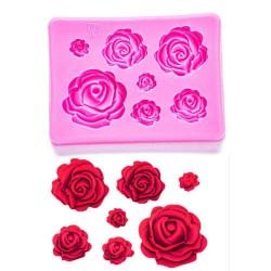 Molde de Silicone Várias Rosas para Decorar Primavera