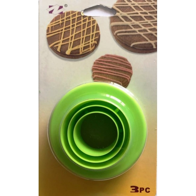 Cortador de Biscoito Redondo Dupla Face para Confeitar Biscoitos