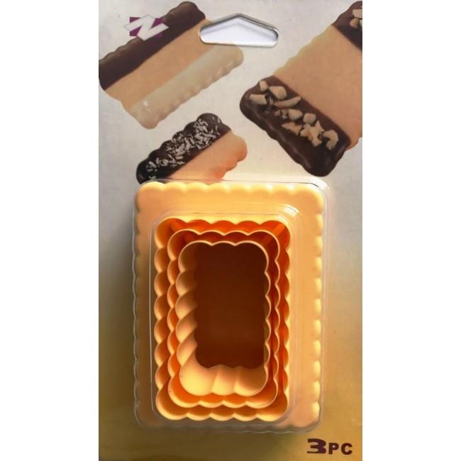 Cortador de Biscoito Retângular Dupla Face para Confeitar Biscoitos