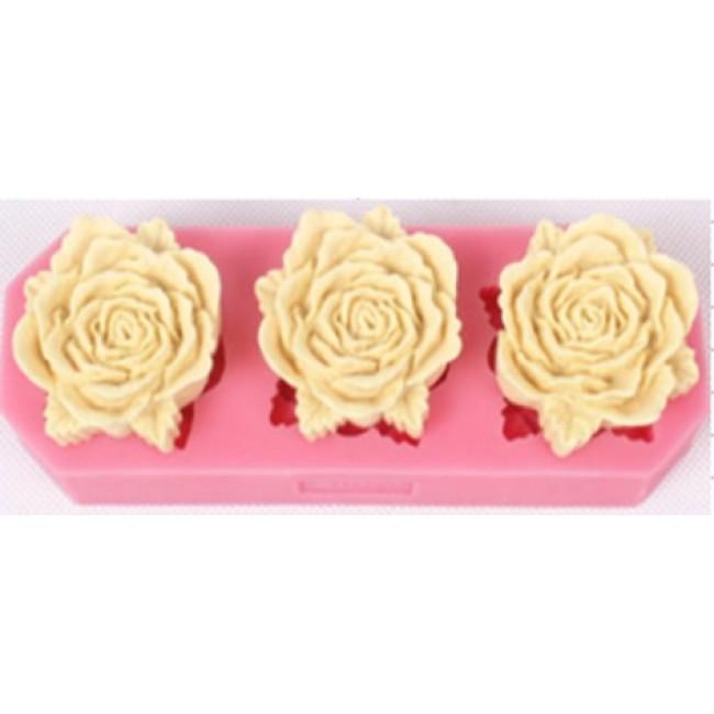 Molde De Silicone 3 Rosas para Decorar